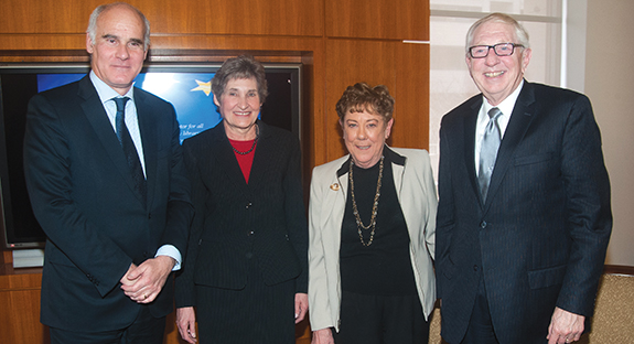 From left, Ambassador Vale de Almeida; Alberta Sbragia, Pitt vice provost for graduate studies, professor of political science, and founder of Pitt's European Union Center; Barbara Sloan; and Rush Miller.