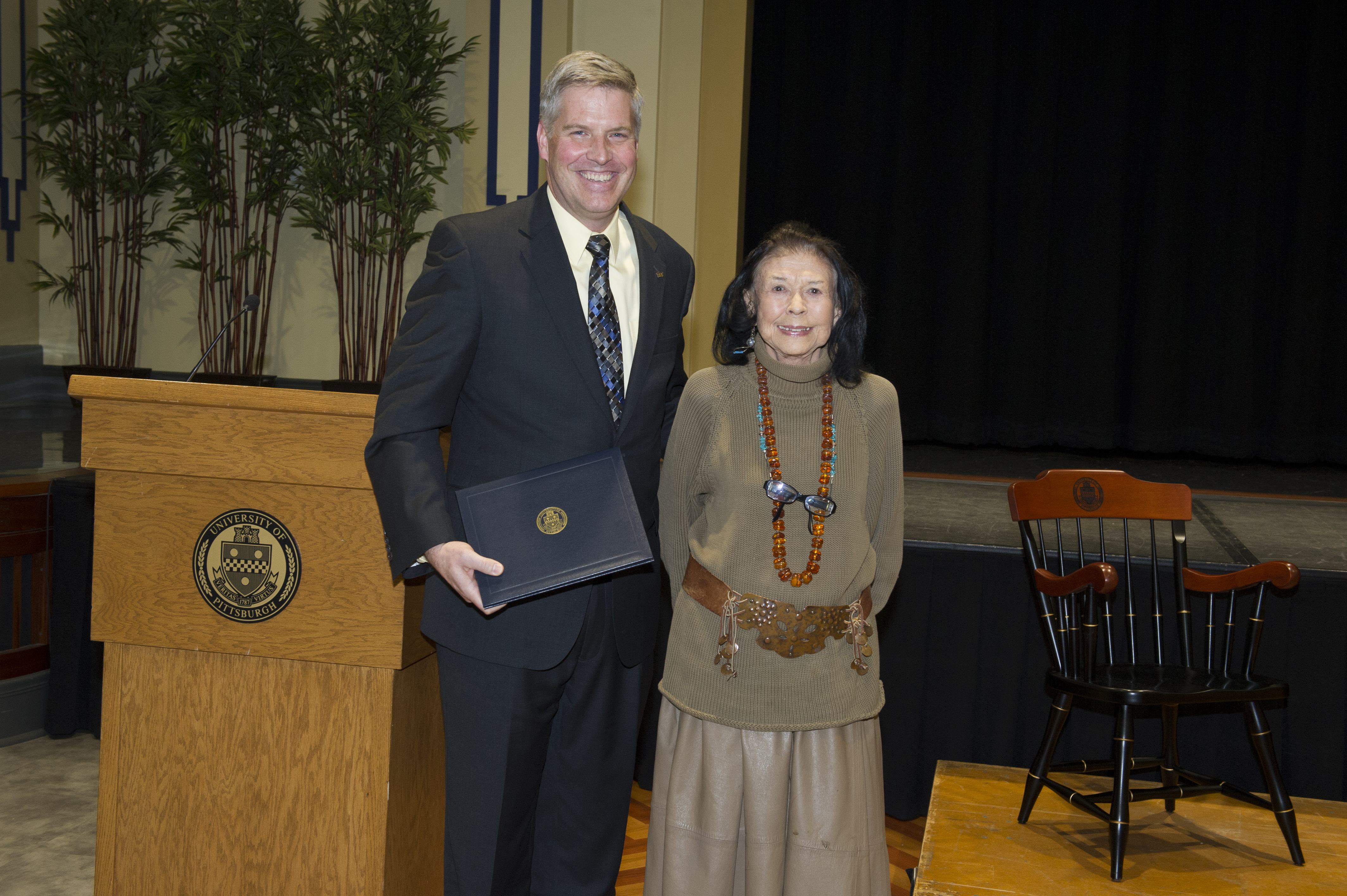 Chancellor Gallagher with Maxine Bruhns