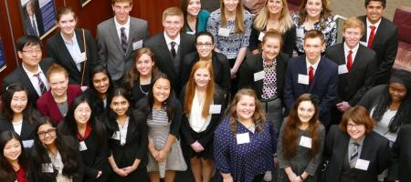 High school students participating in a Model UN competition